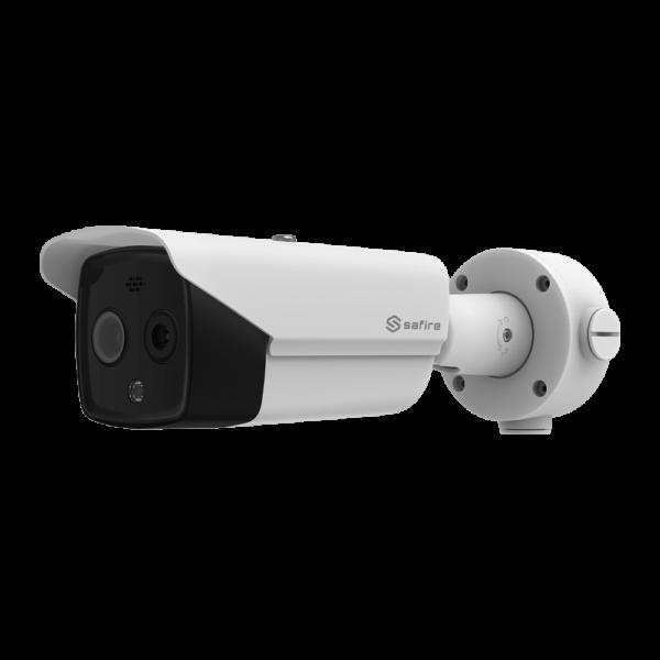 """SF-IPTB011DHA-6D4 PN77767-241190 Telecamera termica Dual IP Bullet Safire 160x120 VOx   Lente 6.2mm Sensore ottico 1/2.7"""" 4 Mpx   Lente 8mm Sensibilità termica ≤ 40mK Rilevazione antincendio e allarme Intervallo di misurazione della temperatura -20~150ºC / ± 8ºC"""